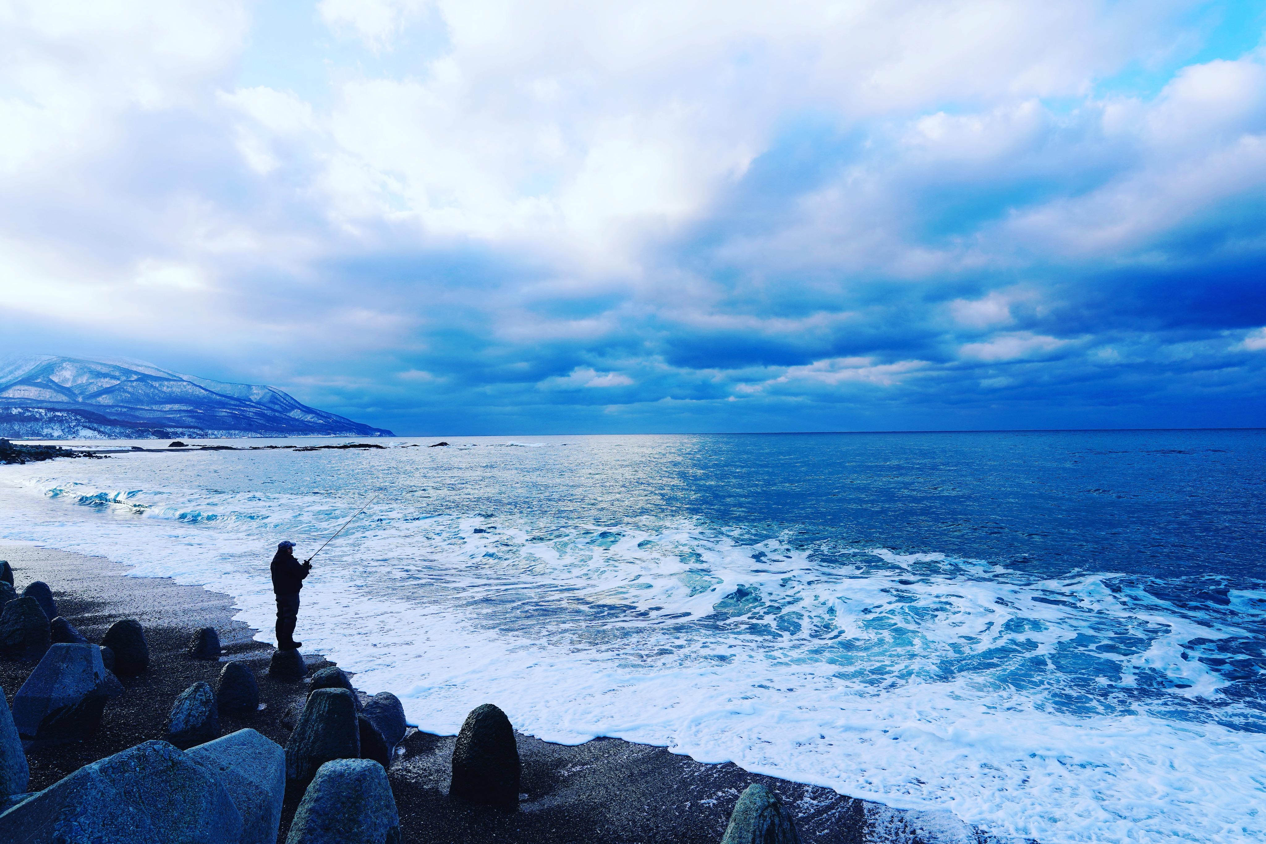 釣り人,青い,海,日本海