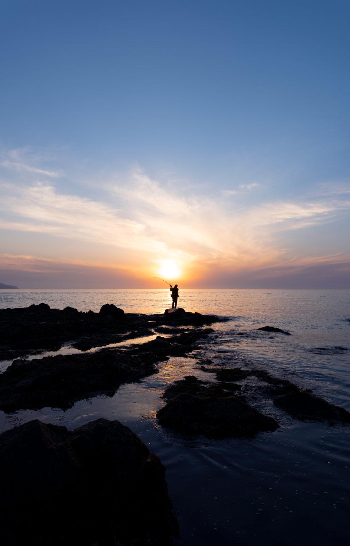 弁天岬の夕日と